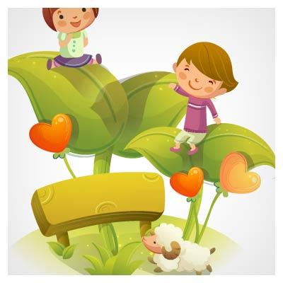 وکتور شادی کودکان روی برگهای گل