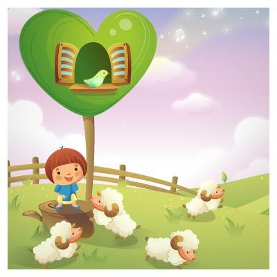 وکتور کودک چوپان (شادی چوپان کوچولو در کنار گوسفندان)