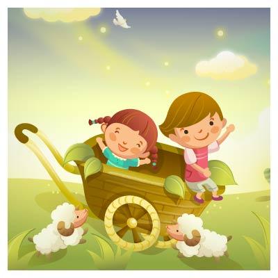 وکتور کالسکه و کودکان (کالسکه سواری بچه ها)