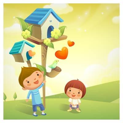 وکتور بچه ها و پرنده های عاشق