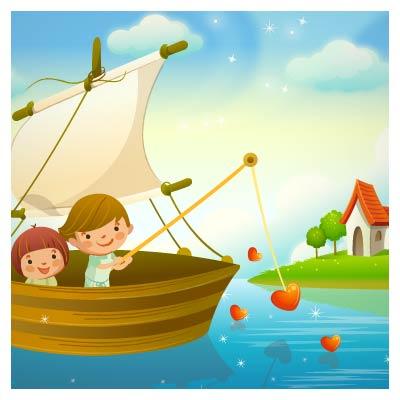 وکتور قایقسواری کودکان