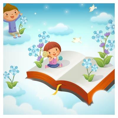 وکتور کتاب و کودک