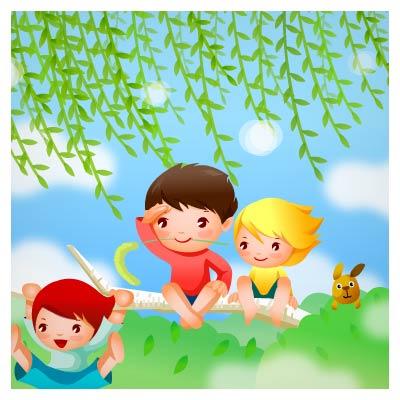وکتور شادی بچه ها روی درخت