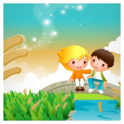 وکتور دو کودک روی پل