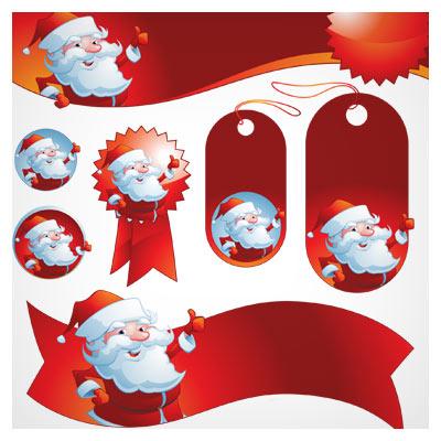 مجموعه لایه باز وکتور بنر و لیبل بابانوئل