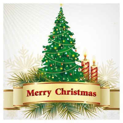 وکتور درخت کاج (کریسمس) ، شمع و لیبل بصورت لایه باز