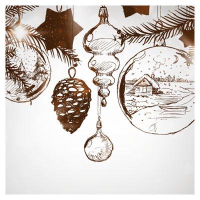 وکتور خطی (طراحی با دست) با موضوع کریسمس