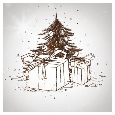 وکتور درخت کاج و کادو (المان های طراحی شده با دست کریسمس)