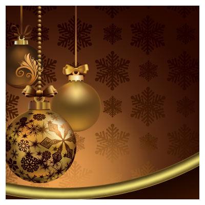 دانلود وکتور لایه باز گوی های طلایی رنگ جشن ها و عید نوی میلادی