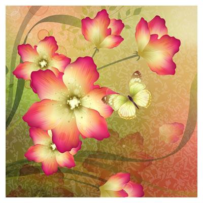 وکتور گل های زیبای بهاری (گلهای زرد و نارنجی بهاری)