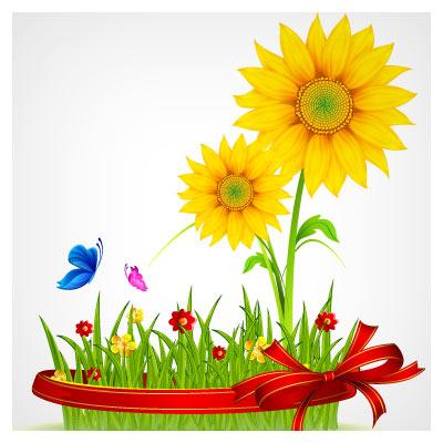 وکتور سبزه عیدنوروز و گل های آفتابگردان