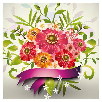 وکتور (فایل برداری لایه باز) دسته گل همیشه بهار