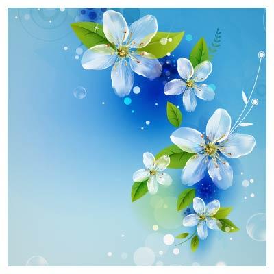 وکتور شکوفه های زیبای بهاری با تم رنگی آبی