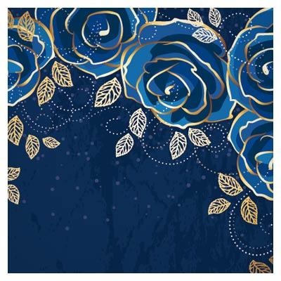 دانلود وکتور لایه باز گلهای تزئینی رز آبی