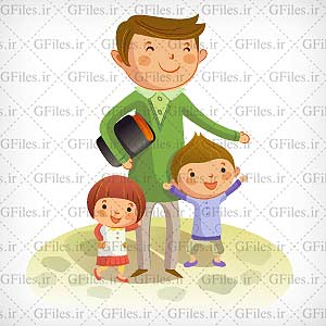 وکتور معلم و بچه ها (شادی بچه ها در کنار استاد)