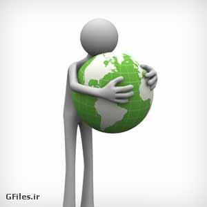 دانلود عکس باکیفیت کره زمین در دست آدمک به مفهوم مراقبت از زمین