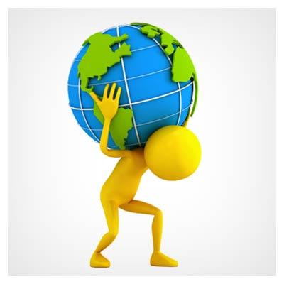 دانلود تصویر گرافیکی آدمک زرد در حال حمل زمین (مراقبت از زمین)