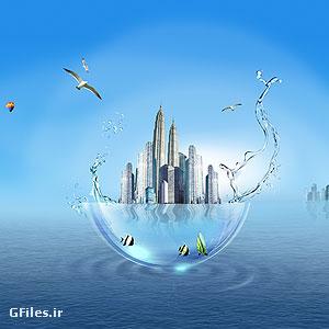 فایل لایه باز psd برج های ساختمانی در پشت دریا