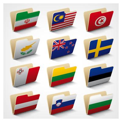 مجموعه پوشه پرچم کشورها