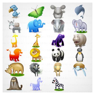 مجموعه آیکون و تصاویر PNG حیوانات مختلف