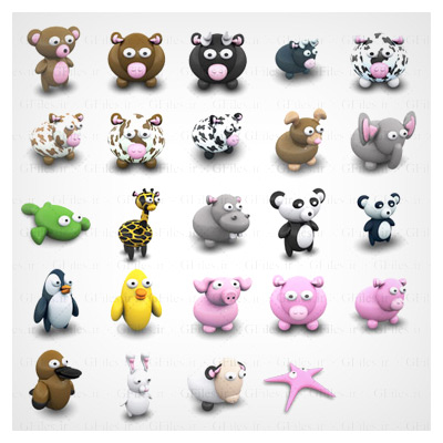آیکون حیوانات سه بعدی