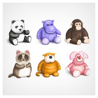 دانلود رایگان مجموعه آیکون های عروسکی شامل خرس ، گوریل ، خرگوش ، گربه و سنجاب با فرمت png