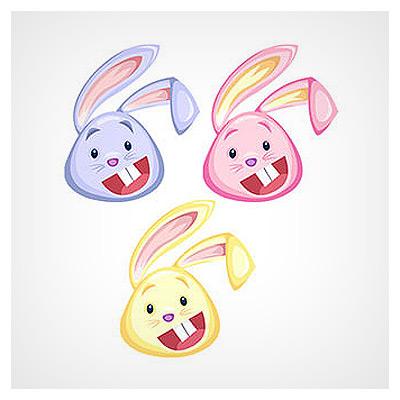 دانلود مجموعه آیکون های صورت خرگوش خندان (دوربری شده)
