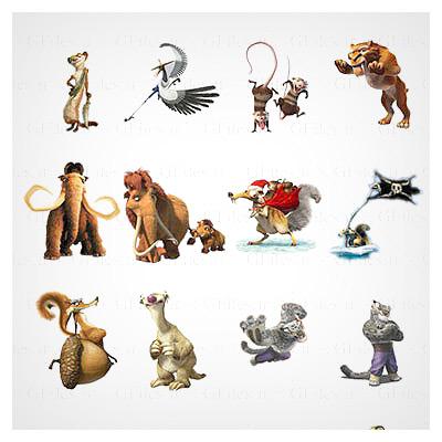 دانلود فایل مجموعه آیکون های کاربردی شخصیت های کارتون عصر یخبندان به صورت رایگان