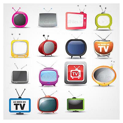 مجموعه آیکون های دوربری شده تلویزیون (بدون پس زمینه)