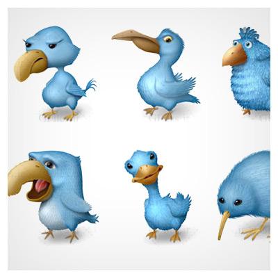 آیکون پرنده های آبی