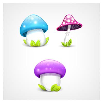 دانلود فایل مجموعه عناصر کاربردی سه عدد قارچ رنگی
