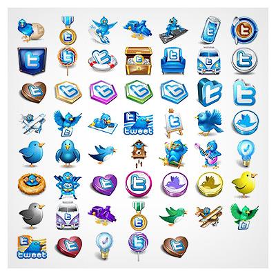 دانلود فایل مجموعه عناصر کاربردی آیکون های نرم افزار پیام رسان توییتر