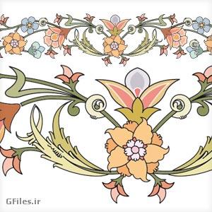 دانلود وکتور مجموعه گل های تزئینی اسلامی (تذهیب)