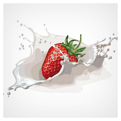وکتور توت فرنگی در شیر
