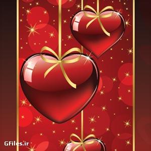 وکتور پس زمینه گرافیکی قرمز با طرح عاشقانه قلب (Red Heart Vector Background)