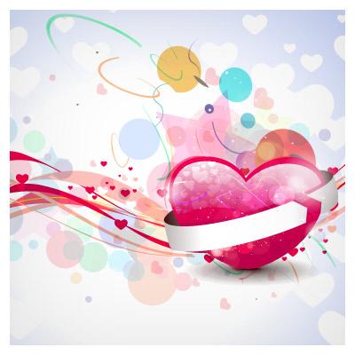 وکتور عاشقانه قلب فانتزی با رنگ های شاد (Valentines Day Background HD desktop wallpaper)