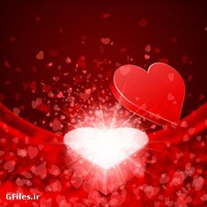 وکتور پس زمینه قرمز عاشقانه با المان های قلب