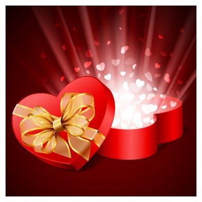 وکتور جعبه کادوی قلب