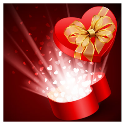 دانلود وکتور جعبه کادوی عاشقانه