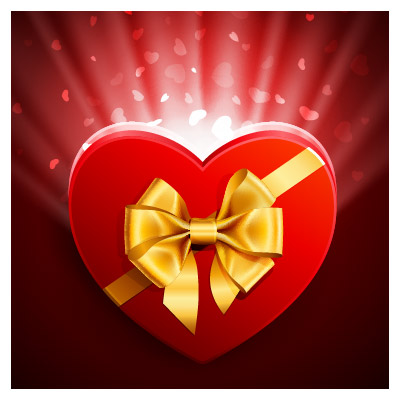 طرح وکتور جعبه کادوی عاشقانه قلبی شکل قرمز