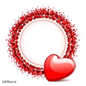 دانلود بنر دایره ای عاشقانه با المان های قلب