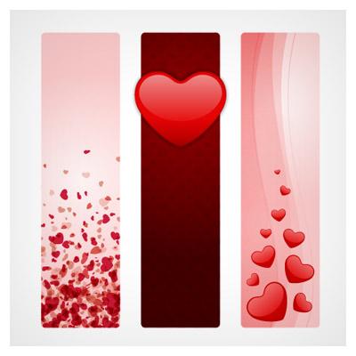 دانلود وکتور بنرهای عمودی عاشقانه با طرح قلب