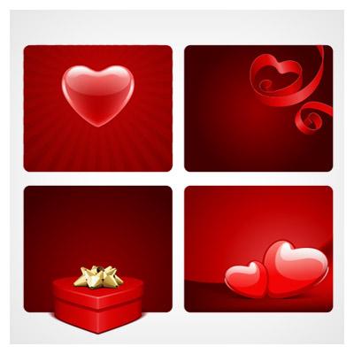 مجموعه چهار فایل گرافیکی وکتوری عاشقانه (کارتهای مربعی عاشقانه)