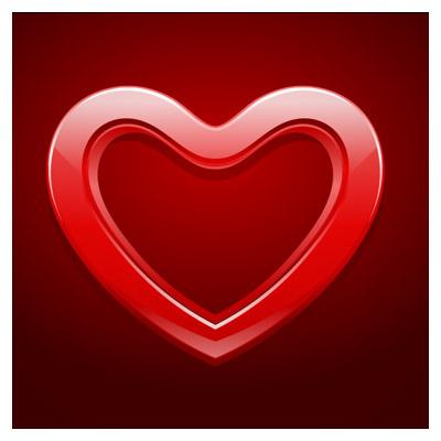 وکتور ساده قلب با بکگراند قرمز (Valentine's Day Heart Filled Vectors)