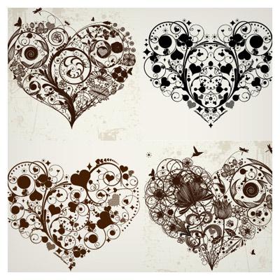 وکتور قلبهای گل و بوته ای