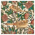 کاشی های قدیم با طرح های گل و مرغ