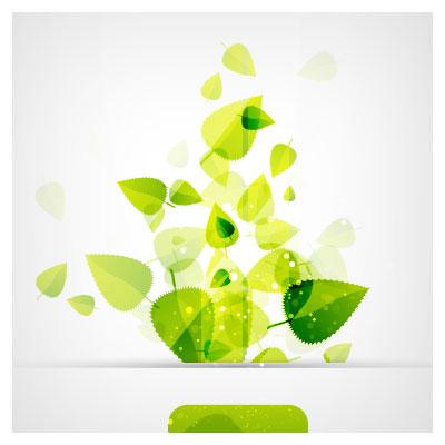 فایل برداری (وکتوری) برگ های سبز فانتزی (Abstract green leaf background ai free vector download)