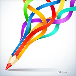 طرح گرافیکی مداد طراحی رنگی رنگی خلاقانه با پسوندهای وکتور