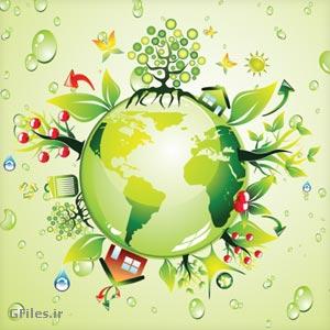 دانلود وکتور پس زمینه گرافیکی سبز با موضوع طبیعت و کره زمین سبز