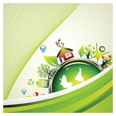 وکتور بنر لایه باز با طرح مراقبت از زمین (زمین سبز) با کیفیت بالا